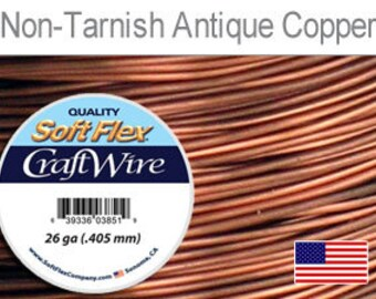 Craft Wire, Soft Flex, 26 gauge, Non Tarnish Antique Copper, 30 yds - 1 spool, Wire, Supplies