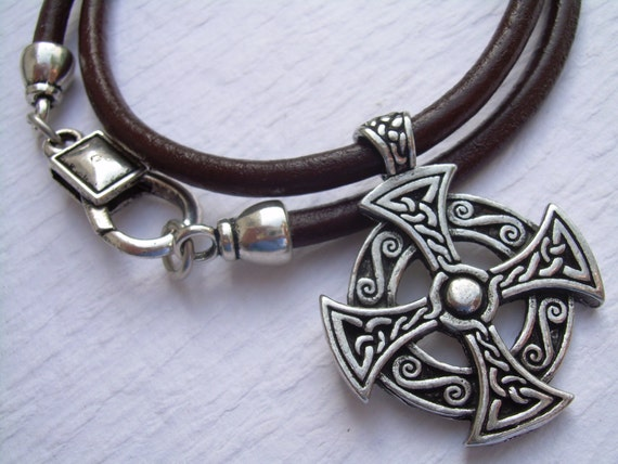 Leather necklace mens cross necklace celtic cross mozeypictures Gallery