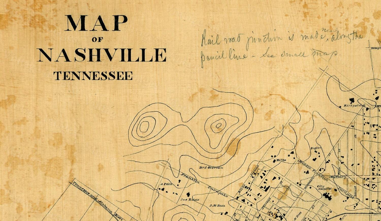 Nashville Map Old Map of Nashville Tennessee 1860 restoration style ...