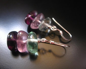 Fluorite Earrings, Green Pink Purple Fluorite Dangle, Fluorite Jewelry, Fluorite Nugget Chip Earrings, Sterling Silver, Stacking Stones