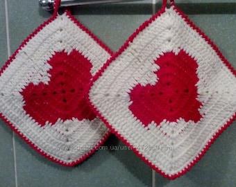 Heart pot holder Valentines potholders heart pot holders red white pot holders cotton pot holder Valentine's Day gift for her love gift