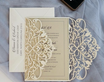 DIY Laser Cut Invitation Folder. Scrolls and Lace Pattern Quinceanera Invitations. Wedding Invitations. Anniversary. FOLDER ONLY. Custom.