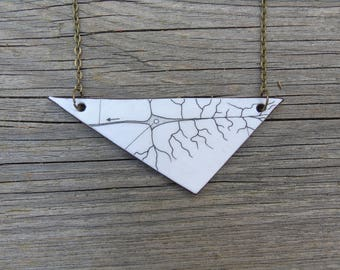 Biology necklace, leather - Brain Cell