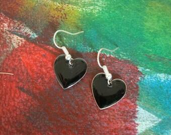 Fancy Black Heart Earrings