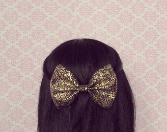 Gold Party Hair Bow - French Barrette, Gold Hair Bow, Holiday New Years Party Hair Bow, Gift for Her