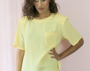 80's Top Yellow Vintage Top Size S/M  Power Dressing 1980s Top Women's  Small Medium