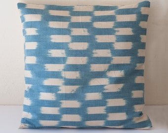 Blue and Cream Chambray Pillow, Block Printed Pillow, Blue and Ivory Rectangle Print Pillow, Rectangle Print, Chambray Pillow, Blue & Cream