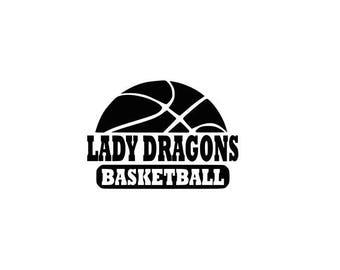 Lady Dragons svg, Dragons basketball svg, Basketball svg, SVG, DXF, EPS, Silhouette Studio, Cut Files, Digital Cut Files, Cricut