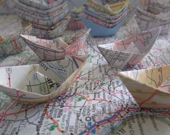 paper boat origami 48 boats decoration road map party maps sail boat