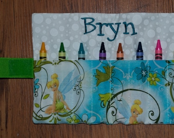Custom Monogramed Crayon Roll made with Tinker Bell Fabric