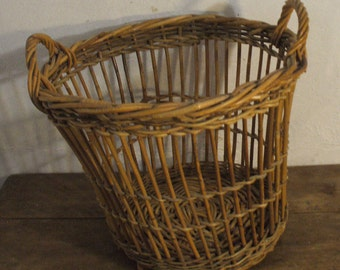 Wicker and rattan basket