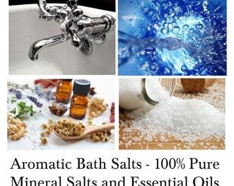 Bath Salts, Mineral Bath Salts, Aromatherapy Bath Salts, 100% Pure Natural Bath Salts with Essential Oils - - 16oz Bag