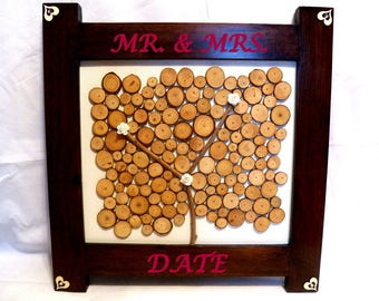 Tree Wedding Guestbook, Personalized Guest Book, Tree Guest Book Wedding, Modern Wedding Guest Book Wood, Custom Guest Book Engraved Names