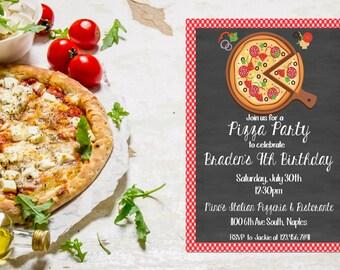 Pizza Party Invitation,  Pizza Birthday Party Invite,  Pizza Invitation,  Pizza Birthday Invitation,  Teen Birthday Invite