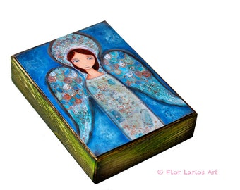 Angel Azul -  Giclee print mounted on Wood (4 x 5 inches) Folk Art  by FLOR LARIOS