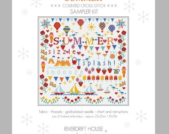 SUMMER Counted Cross Stitch Sampler Kit by Riverdrift House