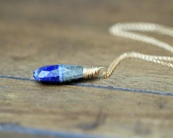 Lapis Lazuli Necklace , Gold Layering Long  Pendant Necklace , Bi-Color Cobalt Blue Gemstone , Boho Fashion - Strata