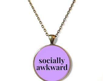 SOCIALLY AWKWARD Lavender Kawaii Necklace - Funny Pastel Goth Soft Grunge Pendant