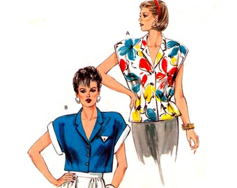 80s Kwik Sew 1512 Blouse with Front and Back Waist Tucks and Short Roll Up Sleeves, Uncut, Factory Folded, Sewing Pattern Multi Size 6-12