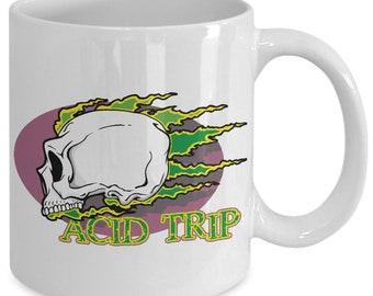 Acid Trip Skull Rip Flames 11oz White Coffee Mug