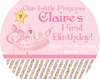 """Little Princess Personalized Stickers, 1st Birthday Personalized Labels Size 2.25"""""""