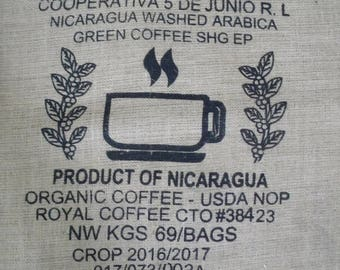 "Used Burlap Coffee Bean Bag, Bulk Coffee Sack with Imperfections, 28"" X 40"", Organic, Recycling, Craft Supply, Coffee Cup Design"