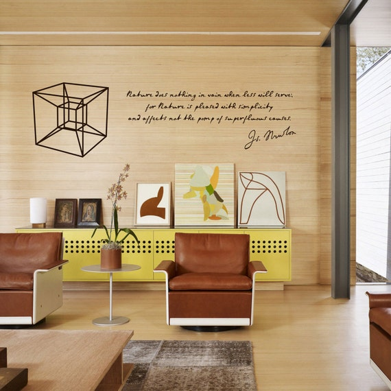 Science art Isaac Newton quote and hypercube vinyl wall