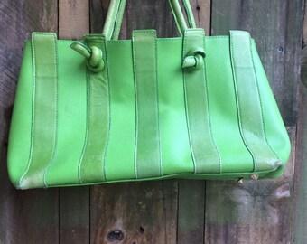 VINTAGE PURSE...bright Kelly green handbag ~ two leather suede top grain quality designer ~ wedding formal cocktail party fashion-retro hip
