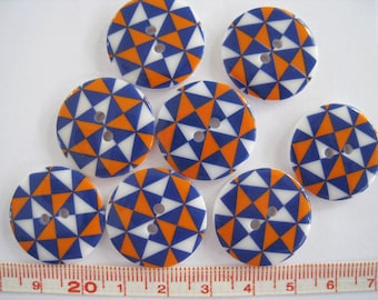 15 pcs of Retro  Graphic Printed  Button - 23mm