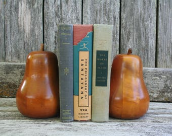 Pair of Beautiful Vintage Solid Wood Pear Bookends