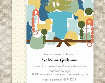 BOY BABY SHOWER Invitations Mod Collage Digital Printable diy Personalized Onesie Bear Bottle - 81719913