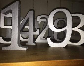 Metallic Silver Wooden Wedding Table Numbers, Free-standing, Hand Painted Silver, Wedding Numbers, Silver Numbers 1-10