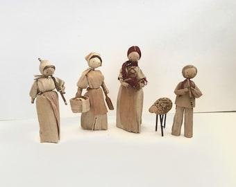 Set of Four (4) Vintage Czech Corn Husk Dolls / Dollies