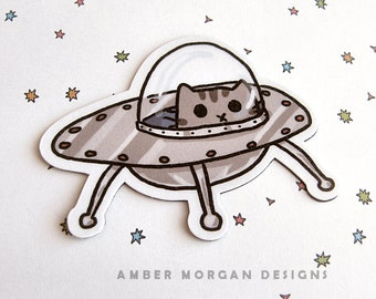 Cute Cat Magnet, Refrigerator Magnet, Cubicle Decor,  UFO Kitty, UFO Magnet, Fridge Magnet Kawaii Magnet Cute Cat Kitty in a Space Ship