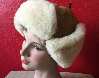 Real Sheepskin Shearling & Brown Suede Sherpa Hat ~ Ear Flaps, Trapper ~ M