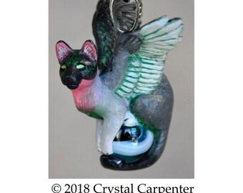 Humming Cat Feline - Collectible Hand Painted Humming Bird Necklace Pendant Ornament Sculpture Avian Angel