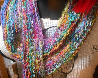 Rivers of Color Hand Knit One of a Kind Scarf Custom Order in Your Color Palette