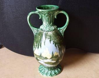 Bihl, Czechoslovakia, 10457-IV: art nouveau / jugendstil 1920s ceramic vase with handpainted landscape decoration