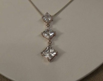 CZ Drop Necklace, Sterling Silver Triple CZ Stones, Romantic, Graduating Triple Stone Silver Necklace, Snake Chain, Solid Sterling