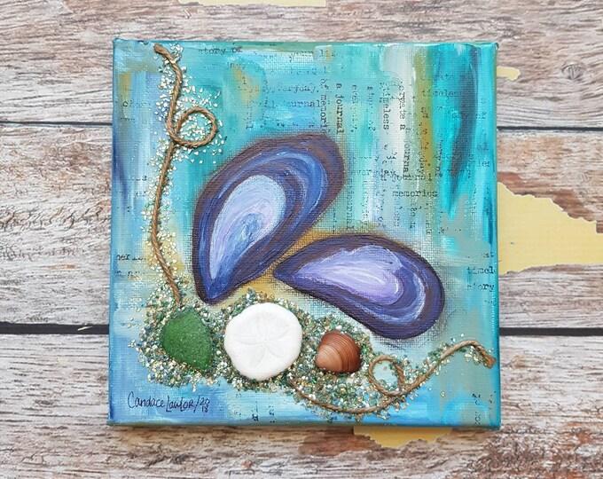 "Seashell Canvas Art | Mussel Shell Painting | Ocean Art | Beach Decor | 6x6 | ""Beach Treasure"" | Saltons Cove Studio"