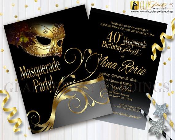 40th Birthday Masquerade Invitation Masked Costume Ball Gold