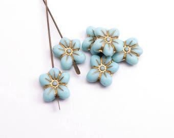 Blue Daisy Flower Czech Glass Beads, (6 pcs) 14x13mm Flower Beads, Blue Flower Beads, Blue Daisy Beads, Gold Flower Beads FLW0487