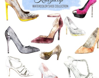 Watercolor Shoe Collection - Commercial and Personal Use