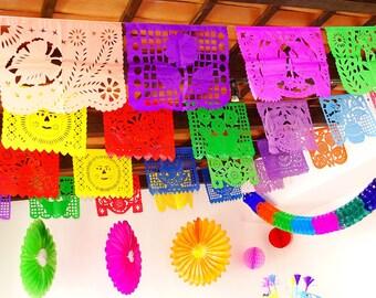 Cinco de Mayo Banner, Mexican Fiesta, aztec home decor, tribal, papel picado banner, decoration, mexican party decor, Weddings Large garland