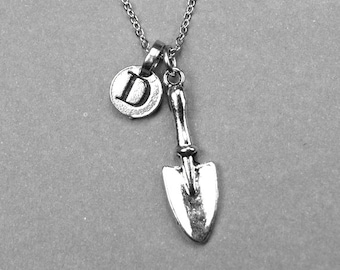 Shovel Necklace, gardener charm, silver plated pewter, initial necklace, initial hand stamped, personalized, monogram