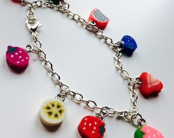 Sale   Feeling Fruity   Charm Bracelet   Fruit   Polymer Clay   Cute   Kawaii
