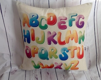 ABC,Duck Feather pillow insert and Cotton Linen Cover, 18×18, Free Shipping..,cute and fun pillow, kids pillow