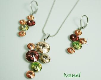 necklace with Swarovski crystals,Swarovski crystals set,rhodium,Swarovski earring,pastel colors,grapes pendants
