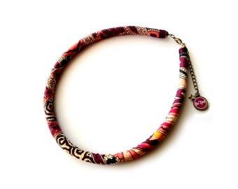 Necklace ethnic Nomad, warm tones of plum, orange and white Paisley Jaipur