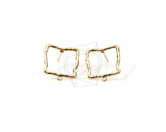 ERG-539-MG/2PCS/Hammered Square Ear Post/15mm x 15mm/Matte Gold Plated over Brass